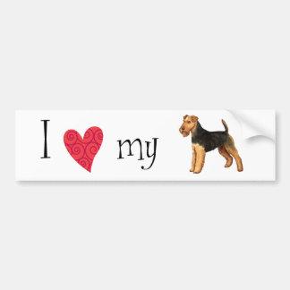 Autocollant De Voiture J'aime mon gallois Terrier