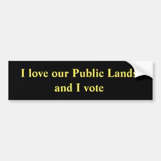 Autocollant De Voiture J'aime nos terrains publics et je vote