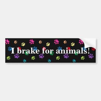 """Autocollant De Voiture """"Je freine pour des animaux !"""" Pattes peintes par"""