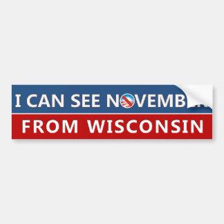 Autocollant De Voiture Je peux voir novembre du Wisconsin