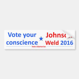 Autocollant De Voiture Johnson-Soudure 2016 -- Votez votre conscience