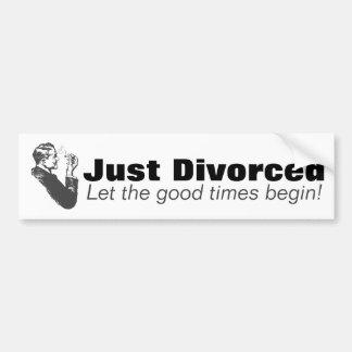 Autocollant De Voiture Juste divorcé : Humour de célébration de divorce