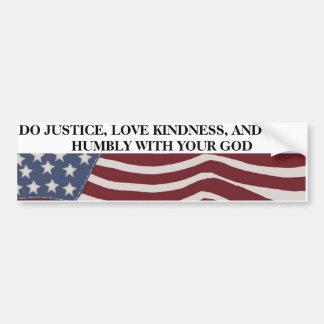 Autocollant De Voiture Justice, gentillesse, et humilité