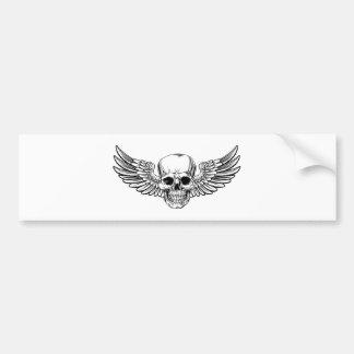 Autocollant De Voiture La gravure sur bois vintage à ailes en crâne a