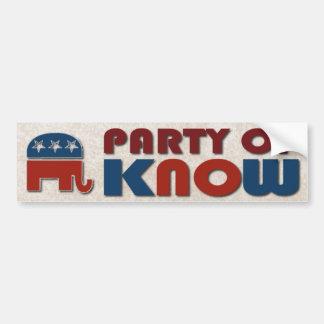 Autocollant De Voiture La partie de républicains de connaissent le GOP