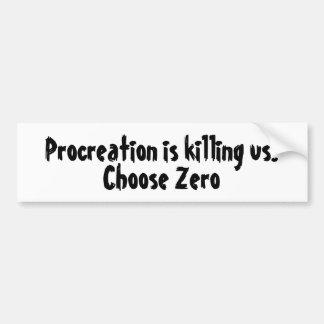 Autocollant De Voiture La procréation nous tue. Choisissez zéro