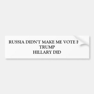 Autocollant De Voiture La Russie ne m'a pas incité à voter pour l'atout