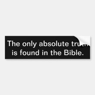 Autocollant De Voiture La seule vérité absolue est trouvée dans la bible