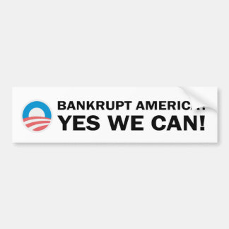 Autocollant De Voiture L'Amérique en faillite ? Oui nous pouvons !