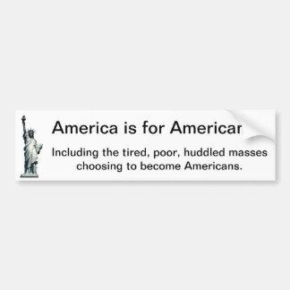 Autocollant De Voiture L'Amérique est pour les Américains - statue de la