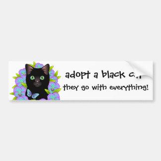 Autocollant De Voiture L'amour de chat noir adoptent un chat d'abri !