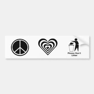 Autocollant De Voiture L'amour de paix et svp ne salissent pas : Noir et
