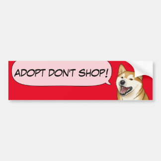 Autocollant De Voiture L'amour de Shiba Inu adoptent un chien d'abri !