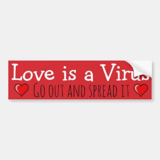 Autocollant De Voiture L'amour est un virus : Sortez et écartez-le !