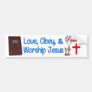 Autocollant De Voiture L'amour, obéissent et adorent Jésus