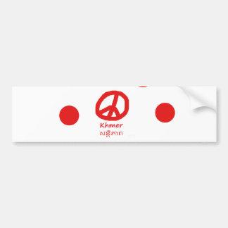Autocollant De Voiture Langue de Khmer et conception de symbole de paix