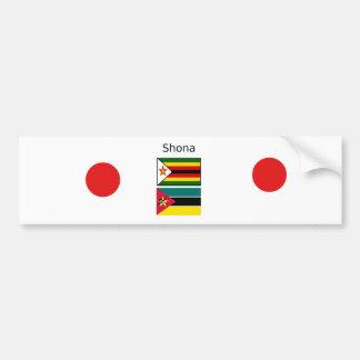 Autocollant De Voiture Langue de Shona et drapeaux du Zimbabwe et de la