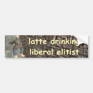 Autocollant De Voiture latte buvant l'élitiste libéral