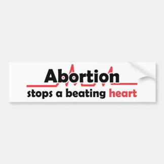 Autocollant De Voiture L'avortement arrête un coeur battant