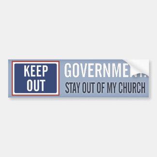 Autocollant De Voiture Le gouvernement gardent hors de mon église