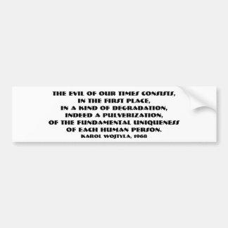Autocollant De Voiture Le mal de nos périodes (JPII, 1968) Bumpersticker