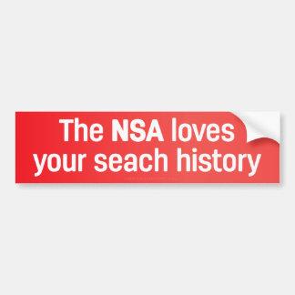 Autocollant De Voiture Le NSA aime votre histoire de recherche