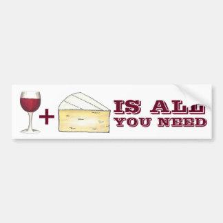 Autocollant De Voiture Le vin et le fromage est tous que vous avez besoin