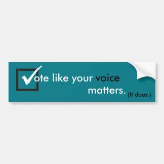 Autocollant De Voiture Le vote aiment vos sujets de voix