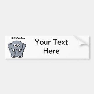 Autocollant De Voiture L'éléphant n'a pas oublié la bande dessinée