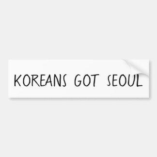Autocollant De Voiture Les Coréens ont obtenu l'adhésif pour pare-chocs
