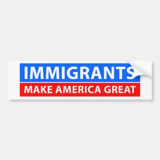 Autocollant De Voiture Les immigrés rendent l'Amérique grande