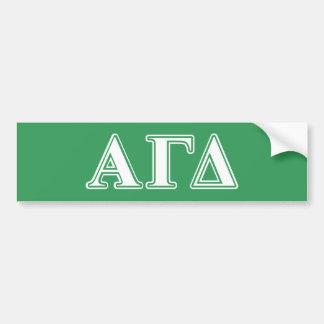 Autocollant De Voiture Lettres blanches et vertes d'alpha delta gamma