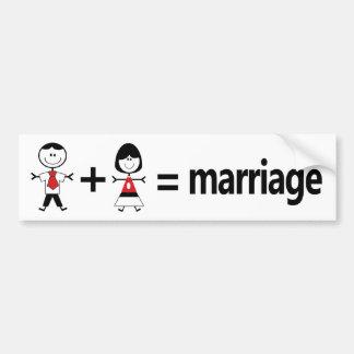 Autocollant De Voiture L'homme plus la femme égale le mariage