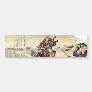 Autocollant De Voiture L'ukiyo-e japonais adoubent à cheval des samouraïs