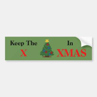 Autocollant De Voiture Maintenez X dans Noël