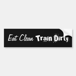 Autocollant De Voiture Mangez propre. Formez le pare-chocs sale