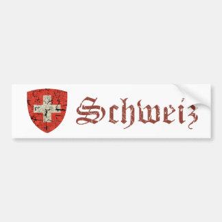 Autocollant De Voiture Manteau des bras suisse, affligé