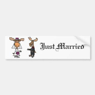 Autocollant De Voiture Mariage drôle d'orignaux de jeunes mariés