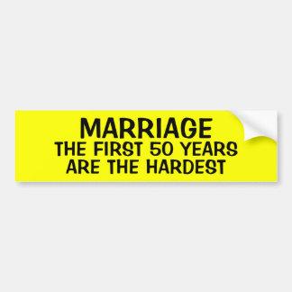 AUTOCOLLANT DE VOITURE MARIAGE : LES 50 PREMIÈRES ANNÉES SONT LES PLUS