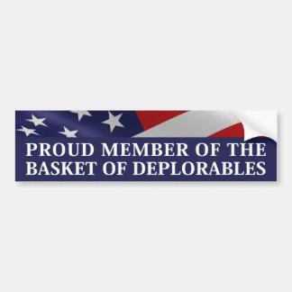 Autocollant De Voiture Membre fier du panier de Deplorables