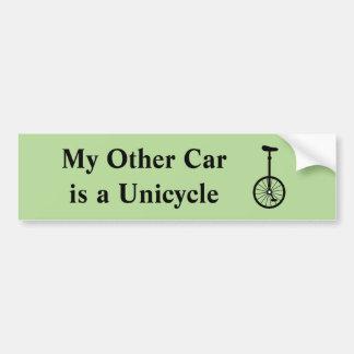 Autocollant De Voiture Mon autre voiture est un monocycle