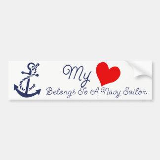 Autocollant De Voiture Mon coeur appartient à un marin de marine