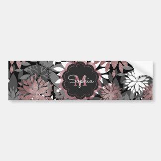 Autocollant De Voiture Motif floral d'illustration de joli or rose
