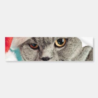 Autocollant De Voiture Noël gris de chat - chat de Noël - chat de chaton