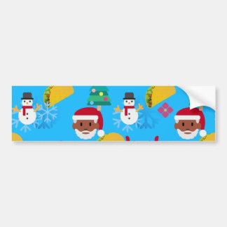 Autocollant De Voiture Noël noir de taco de père Noël