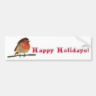 Autocollant De Voiture Noël Robin dans l'aquarelle - bonnes fêtes