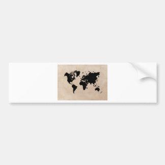 Autocollant De Voiture noir de carte du monde