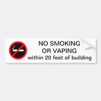 Autocollant De Voiture NON-FUMEURS OU VAPING à moins de 20 pieds de