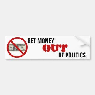 Autocollant De Voiture Obtenez l'argent hors de la politique