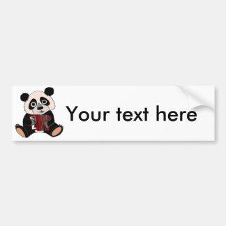 Autocollant De Voiture Ours panda drôle jouant l'accordéon